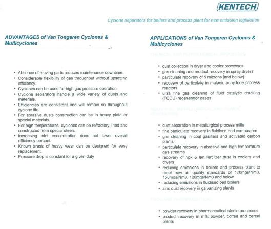 Advantages and applications of Van Tongeren Cyclones and Mulkticyclones (Kentech, South Africa)