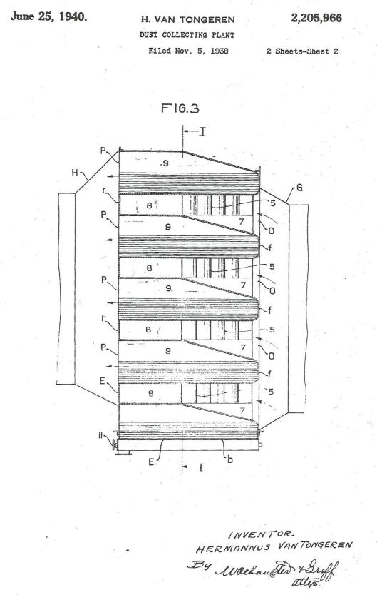 United States Patent Office: DUST COLLECTTOR invented by Hermannus van Tongeren, Heemstede, The Netherlands. Application August 11, 1932. Nr. 2,039,692