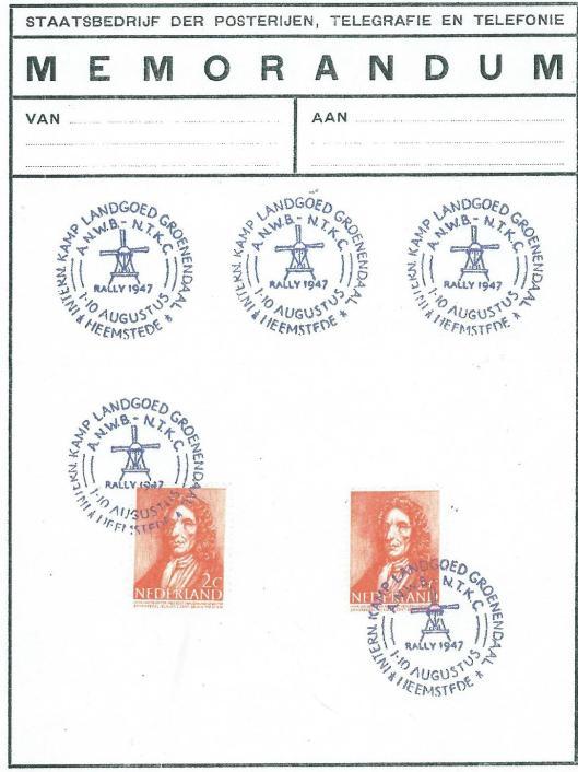 Memorandum PTT met stempels van ANWB-NKTC rally 1947 op landgoed Groenendaal (met dank aan Peter Borgwat)