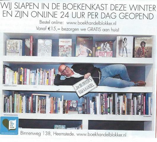 Advertentie boekhandel Blokker Heemstede, najaar 2015.