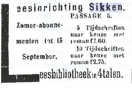 Advertentie van Leesbibliotheek Sikken, Passage 5, Zandvoort