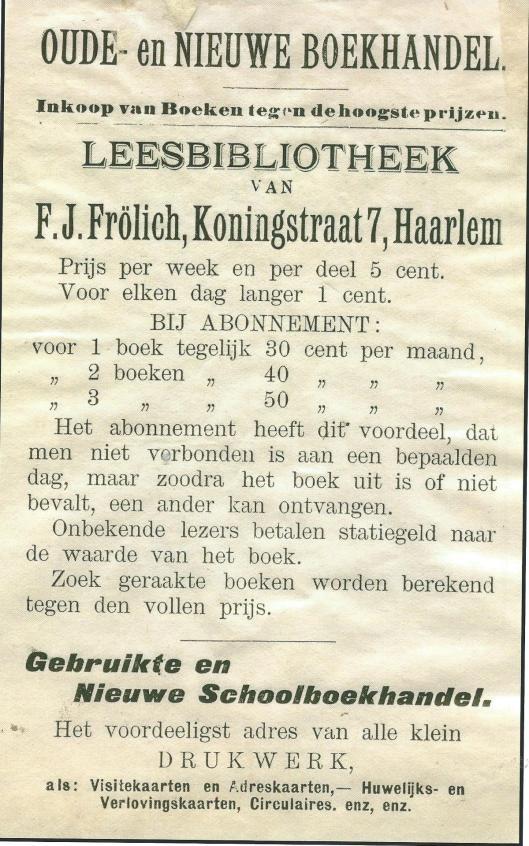 Adv. van Leesbibliotheek F.J. Fröhlich, Koningstraat 7, Haarlem (Hillebrand Komrij)