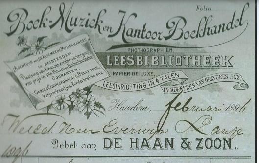 Briefpapier van Leesbibliotheek De Haan & Zoon te Haarlem uit 1896, ook gevestigd in Amsterdam (Hillebrand Komrij)