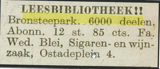 Leesbibliotheek Bronsteepark, Van Ostadeplein 4 Heemstede (Hillebrand Komrij)