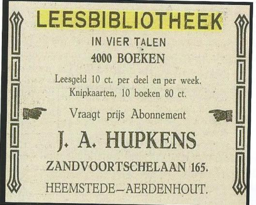 Leesbibliotheek J.A.Hupkens, Zandvoortselaan 165, Heemstede (Hillebrand Komrij)