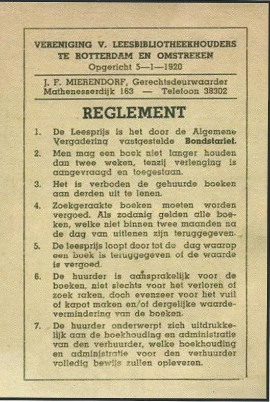 Reglement van de Vereeniging van Leesbibliotheekhouders te Rotterdam, opgericht 5-1-1920