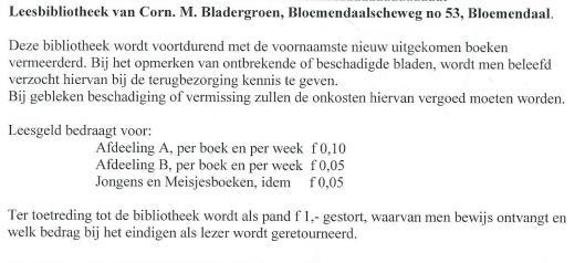 Leesbibliotheek Corn.M.Bladergroen, Bloemendaalseweg 53, Bloemendaal (Uit: Hillebrand Komrij: De ondergang van de particuliere leesbibliotheek, pagina 207)