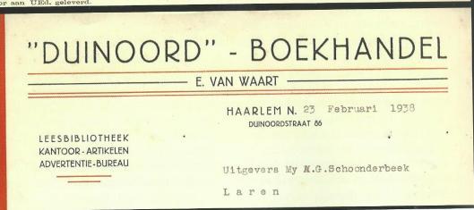 Briefhoofd van boekhandel-leesbibliotheek 'Duinoord', E.van Waard, Duinoordstraat 86 Haarlem (Hillebrand Komrij)