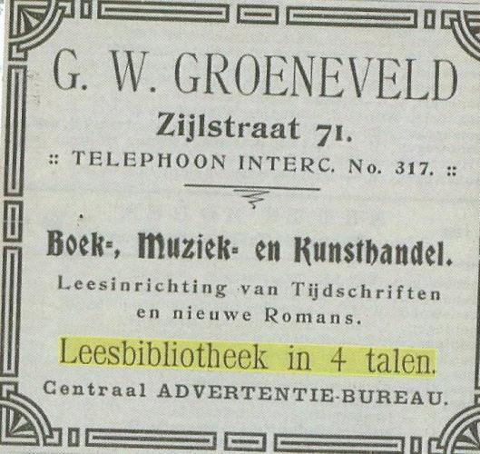 Reclame van Leesbibliotheek, G.W.Groeneveld, Zijlstraat 71, Haarlem