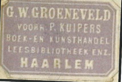 Boeketiketje G.W.Groeneveld Haarlem