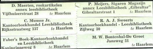 Enkele etiketten van leesbibliotheken in Haarlem
