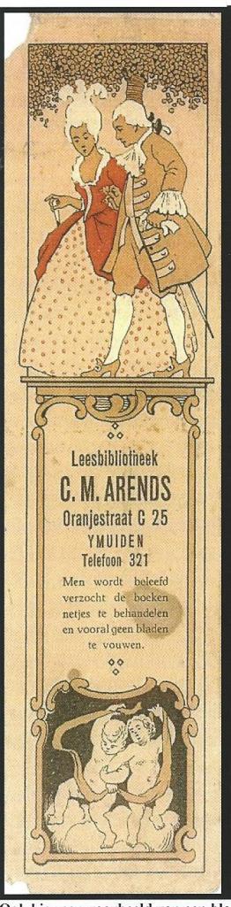 Bladwijzer Leesbibliotheek G.M.Arends, Oranjestraat, IJmuiden (Hillebrand Komrij)