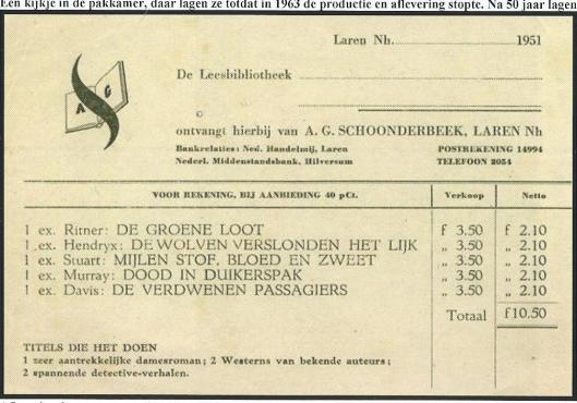 Afleveringsbon A.G.Schoonderbeek, Laren (Hillebrand Komrij)