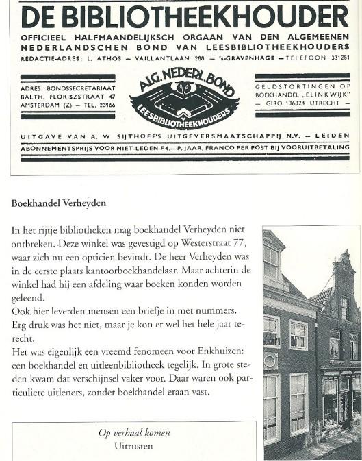 Boekhandel annex leesbibliotheek Verheyden, Westerstraat 77 Enkhuizen