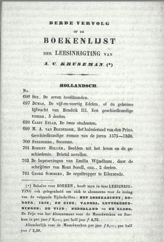 Pagina uit vervolgcatalogus leesinrigting van A.C.Kruseman (Noord-Hollands Archief, uit: 'Een stad vol lezers')
