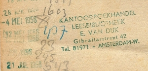 Stempels uit boek van kanttoboekhandel en leesbibliotheek E.van Dijk, Gibraltarstraat 42, AmsterdamWest