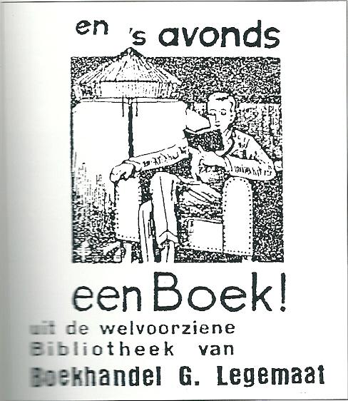 Reclame van boekhandel-leesbibliotheek G.Legemaat in Veenendaal