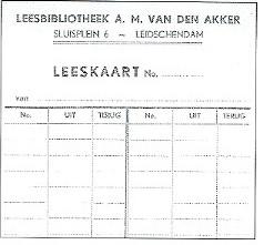 Leeskaart van leesbibliotheek A,H,van den Akker in Leidschendam