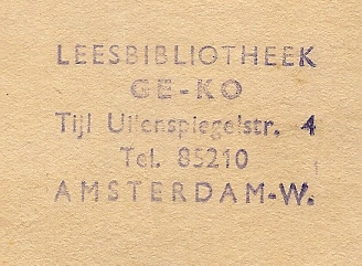 Stempel Leesbibliotheek Ge-Ko, Tijl Uilenspiegelstraat 4, Amsterdam-W.