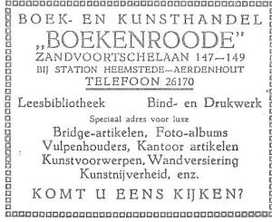 Adv. Boek- en Kunsthandel 'Boekenroode' uit 1928