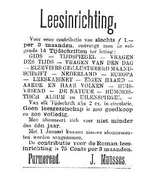 Advertentie uit Schuitemakers Purmerender Courant, jaargang 1891