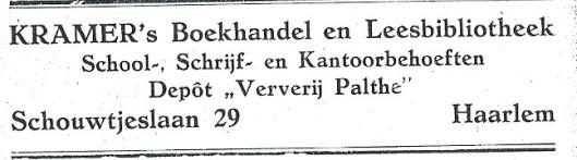 Advertentie van Kramer's Boekhandel en Leesbibliotheek, Schouwtjeslaan 29, uit 1927 (tot 1 mei van dat jaar gemeente Heemstede en daarna wegens annexatie Haarlem)