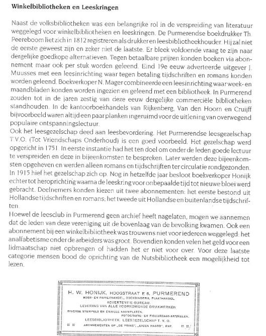 Briefhoofd boekhandel-leesbibliotheek Honijk in Purmerend en hoofdstuk: winkelbibliotheken en leeskringen (J.Otsen)