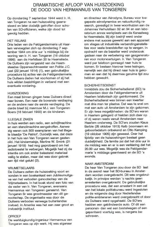 Verslag V.C. Klep (1) omtrent H.van Tongeren