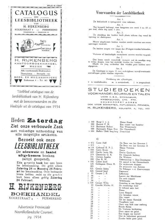 Leesbibliotheek H.Rijkenberg, Kolkstraat 4, Purmerend (1934)