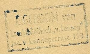 Stempek Leesbibliotheek 'V.Lennep', Jacob van Lennepstraat 183, Amsterdam