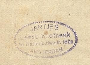 Eigendomsstempel Jantje's Leesbibliotheek, 1e Kattenburgerdwarsstraat 16hs, Amsterdam