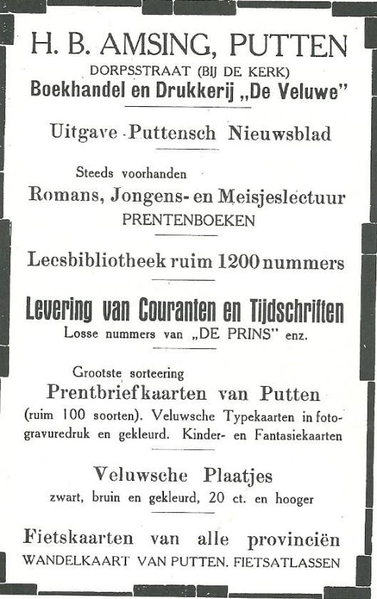 Advertentie van boekhandel-leesbibliotheek Amsing in Putten (Gld.) ui de 'Gids van Putten', 1929.