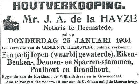 Advertentie ui de Heemsteder, 1934. Notaris mr. J.A.de la Hayze was gevestigd op het adres Raadhuisplen 15