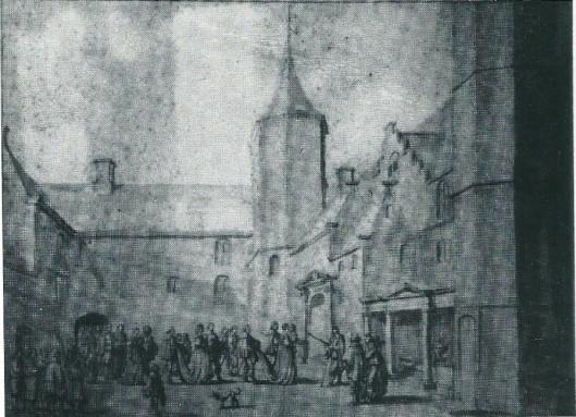 Adriaan Pauw ontvangt de Franse koningin-moeder Maria de Medicis in september 1638 op de binnenplaats van het Huis Te Heemstede. Tekening van Jan Martsen de Jonge