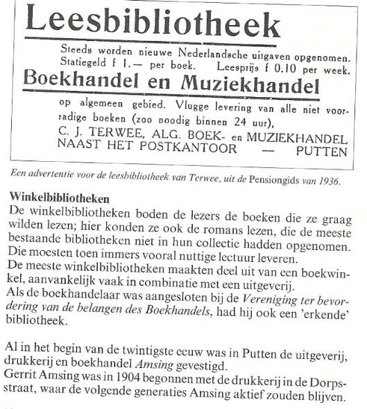 Uit: 'Een eeuw boeken lenen in Putten', door Margreet H.van Wijk-Sluyterman. 1995 (1)