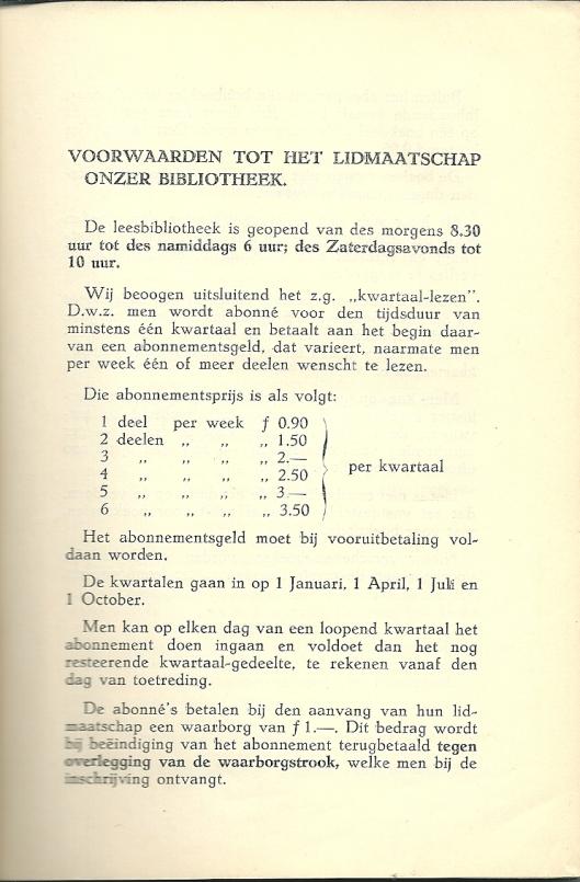 Voorwaarden leesbibliotheek de Bijenkorf Rotterdam, 1930