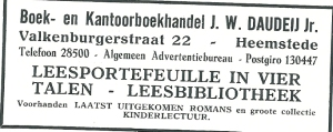 Advertententie van J.W.Daudeij uit 1931