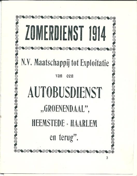 Vooromslag gidsje autobusdienst Groenendaal 1914