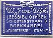 Boeketiketje van W.J.van Wijk boekhandel en leesbibliotheek Utrecht