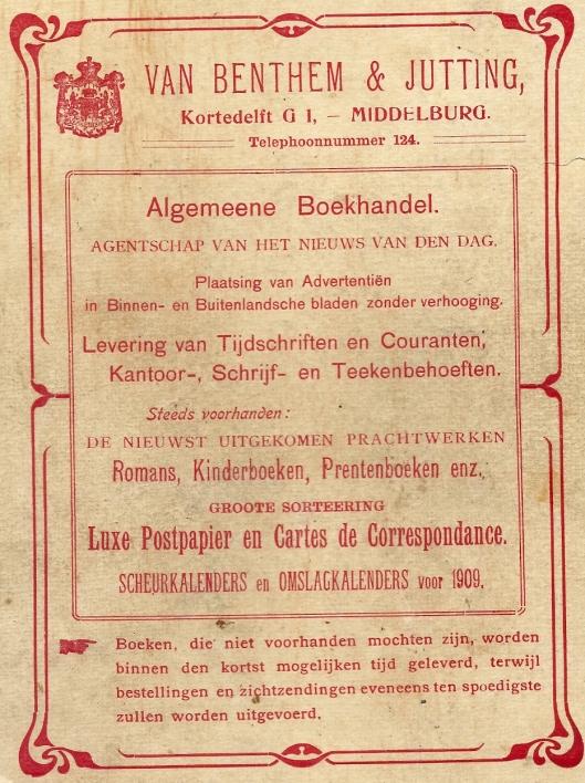 Reclameplaat boekhandel Van Bentem & Jutting in Middelburg met ook een aantal jaren leesbibliotheek