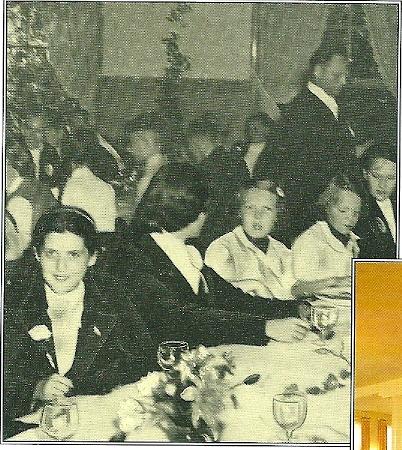 Na afloop genoten de prinsssen Beatrix (derde van links) en Irene van een dineetje in het restaurant Groenendaal
