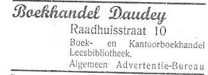 Boekhandel en leesbibliotheek Daudey. Advertentie uit 1939