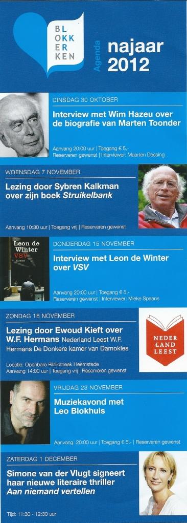 Agenda Boekhandel Blokker, najaar 2012