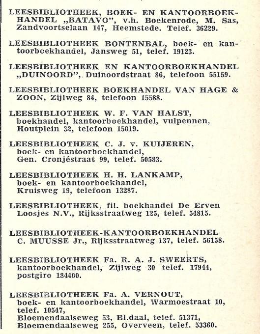 Leesbibliotheken vermeld in: Adresboek van Haarlem 1960.