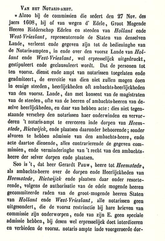 Verordening omtrent het notaris-ambt, 15 juni 1654, ondertekend door ambachtsheer van Heemstede Gerard Pauw