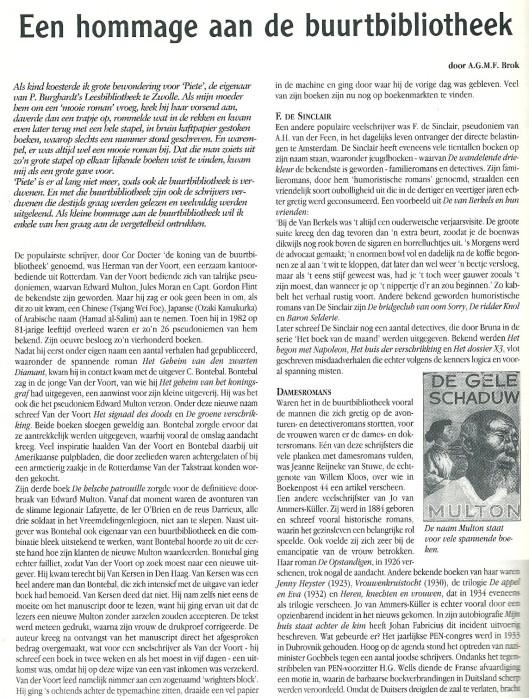 Een hommage aan de buurtbibliotheek = P.Burghar(d)t's leesbibliotheek in Zwolle; door A.G.M.F.Brock, in: Boekenpost, juli/augustus 2001, p. 28