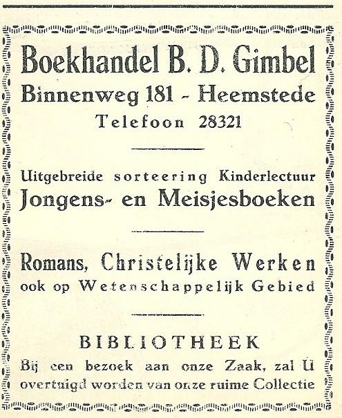 Boekhandel, kantoorboekhandel en leesbibliotheek B.G.Gimbel, Binnenweg 181, Heemstede. Adv. uit 1925