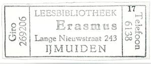 Stempel van leesbibliotheek Erasmus in IJmuiden, gemeente Velsen
