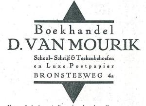 Advertentie uit 1930 van boekhandel D. van Mourik, Bronsteeweg 4a Heemstede