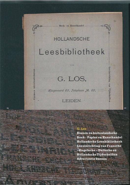 Catalogus van de 'Hollandsche Leesbibliotheek' van G.Los en Geveltekst Hoogewoerd 65, Leiden